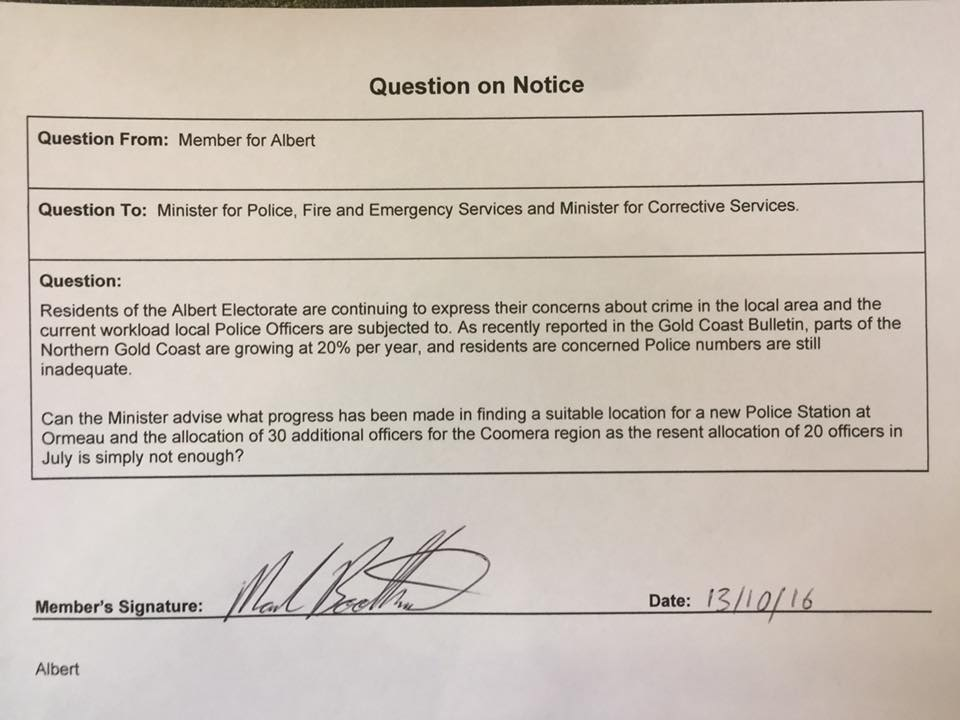 Question On Notice to the Minister for Police.